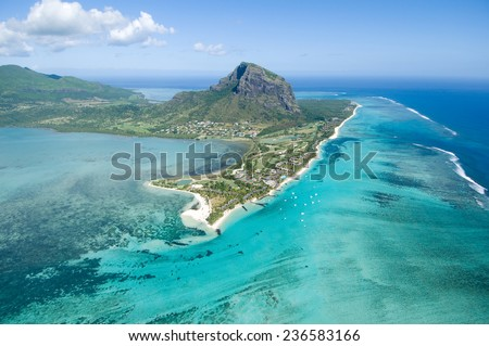Aerial view of Le Morne Brabant mountain which is in the World Heritage list of the UNESCO. - stock photo