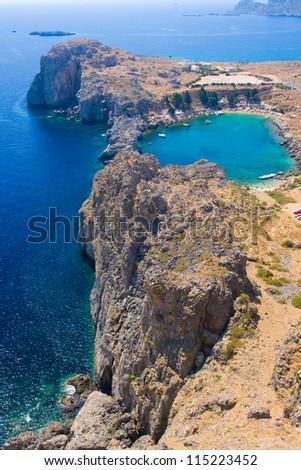 Aerial view of Lindos Agios Pavlos bay, Rhodes - stock photo