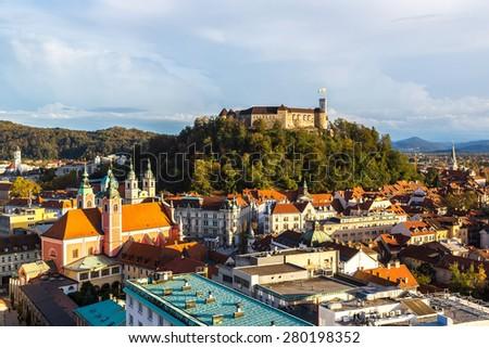 Aerial view of Ljubljana's castle at sunset in Slovenia - stock photo