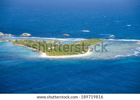 Aerial view of Lobos Island North of  Puerto Rico.   - stock photo