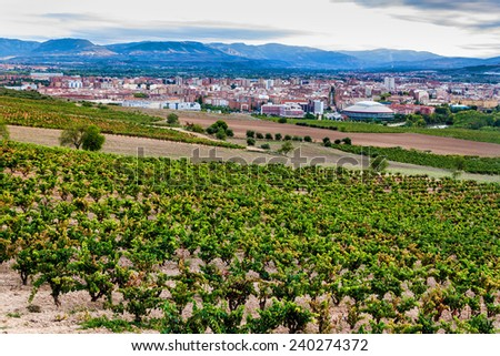 Aerial view of Logrono, Spain - stock photo