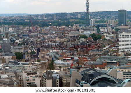 aerial view of London city at summer time - stock photo