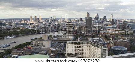 Aerial View of London from the London Eye. - stock photo