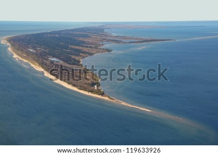aerial view of Long Point peninsula view of the point with the lighthouse, Lake Erie Ontario Canada - stock photo