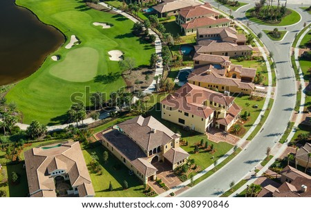 aerial view of lovely florida golf community - stock photo