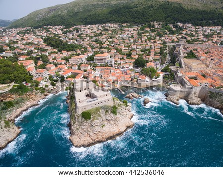 aerial view of Lovrijenac fortress - stock photo