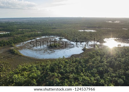 aerial view of loxahatchee slough swamp in palm beach county florida