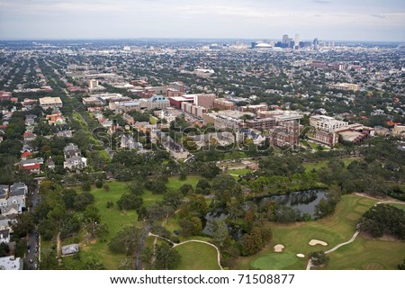 Aerial view of Loyola & Tulane University with City of New Orleans in the background - stock photo