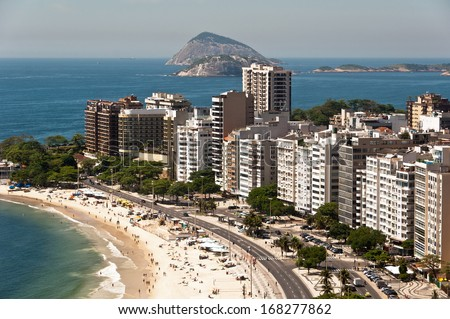 Aerial View of Luxury Residential and Hotel Buildings in Front of the Copacabana Beach, Rio de Janeiro, Brazil - stock photo