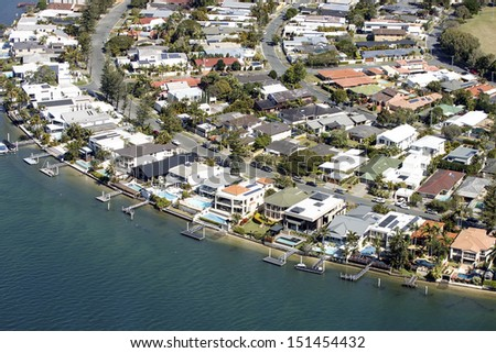 Aerial view of luxury water front houses on Gold Coast, Australia - stock photo