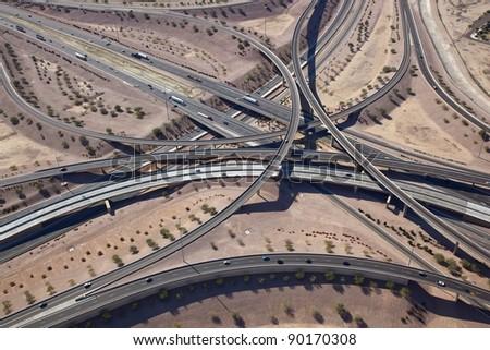 Aerial view of major highway Interchange - stock photo