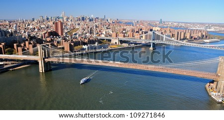 Aerial view of Manhattan Bridge with Brooklyn Bridge in the foreground, Brooklyn, NY, USA - stock photo