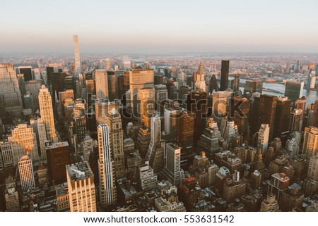 Aerial view of Manhattan skyline at sunset, New York City,Dec 1,2016