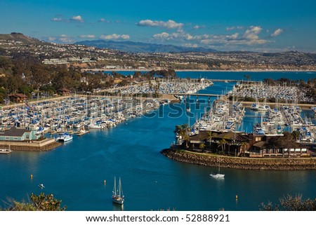Aerial view of marina and the city of Dana Point, southern Orange County, California, U.S.A. - stock photo