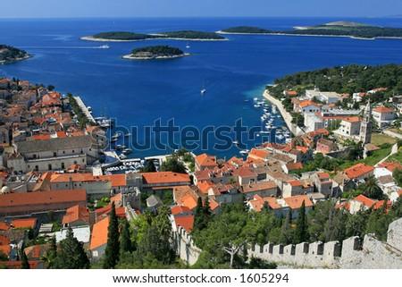 Aerial view of marina on island of Hvar, Croatia - stock photo
