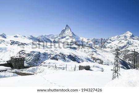 Aerial view of Matterhorn, Zermatt, Switzerland - stock photo