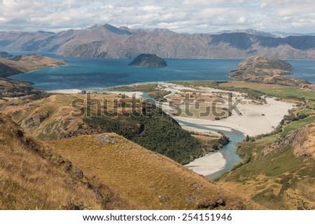 aerial view of Matukituki river and lake Wanaka in New Zealand - stock photo