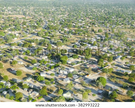 aerial view of Maun, a town in Botswana, Africa - stock photo