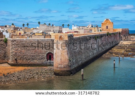 Aerial view of Mazagan, El Jadida, Morocco. It is a Portuguese Fortified Port City registered as a UNESCO World Heritage Site - stock photo