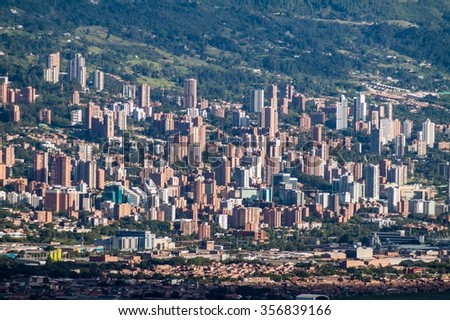 Aerial view of Medellin, Colombia - stock photo