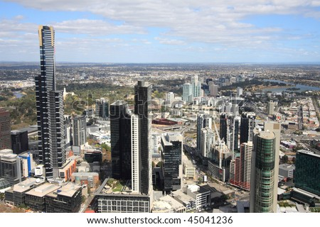 Aerial view of Melbourne and Yarra River. The prominent building is Eureka Tower, which is the world's tallest residential tower when measured to its highest floor. - stock photo