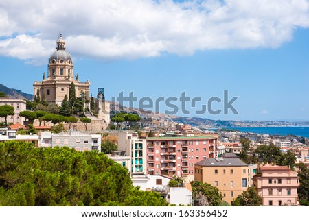 Aerial view of Messina city, Sicily island, Italy - stock photo