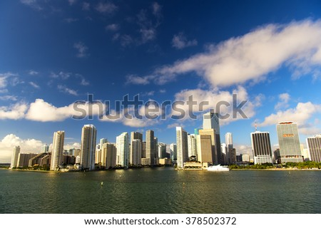 Aerial view of Miami Beach, boat and skycrappers, downtown skyline - stock photo
