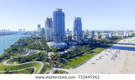 Aerial view of Miami Beach, Florida.