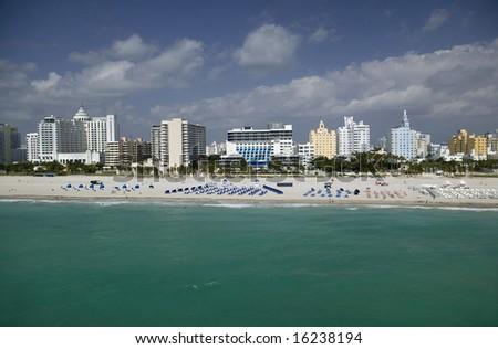 Aerial View of Miami Beach Ritz Carlton Ritz Carlton Hotel; Delano Hotel; Raleigh Hotel; National Hotel - stock photo