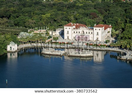 Aerial view of Miami-Dade County-owned Vizcaya Museum and mansion along Biscayne Bay