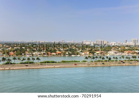 Aerial view of Miami with Star Island in foreground - stock photo