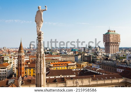 Aerial view of Milan with Torre Velasca from Duomo roof terrace, Italy - stock photo