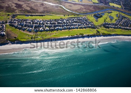 Aerial view of Milnerton Golf Club and Estate, Cape Town, South Africa - stock photo