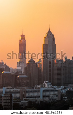 Aerial view of modern high rise buildings, condominium at business area in big city downtown,Bangkok ,Thailand