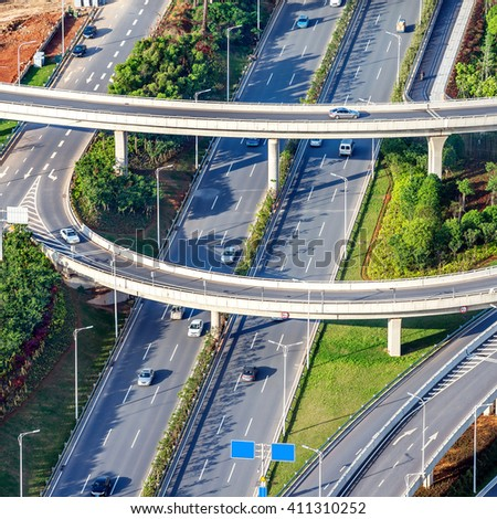 Aerial view of modern highways and viaducts, China Nanchang. - stock photo