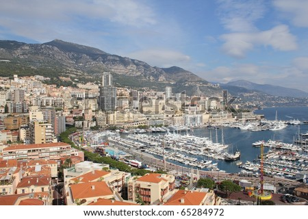 Aerial view of Monaco - stock photo