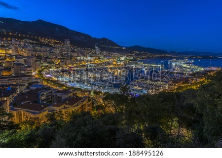 Aerial view of Monaco's harbor  just after sunset - stock photo