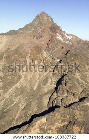 Aerial view of Mount Kenya, Africa - stock photo