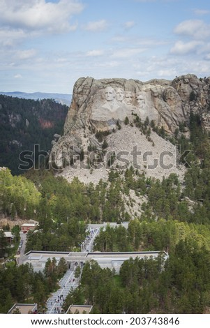 aerial view of Mount Rushmore on a cloudy spring morning - stock photo
