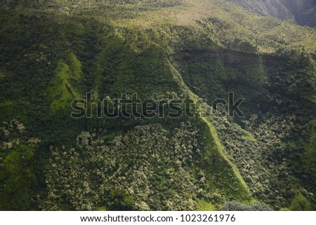 aerial view of mountain in kauai