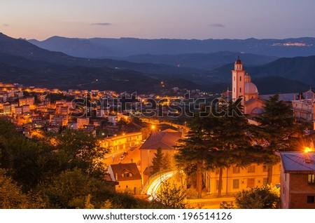 Aerial view of mountain town - Lanusei (Sardinia, Italy) at night - stock photo