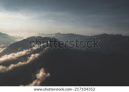 aerial view of mountains in nepal - stock photo