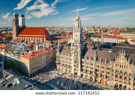 Aerial view of Munchen: Marienplatz, New Town Hall and Frauenkirche - stock photo
