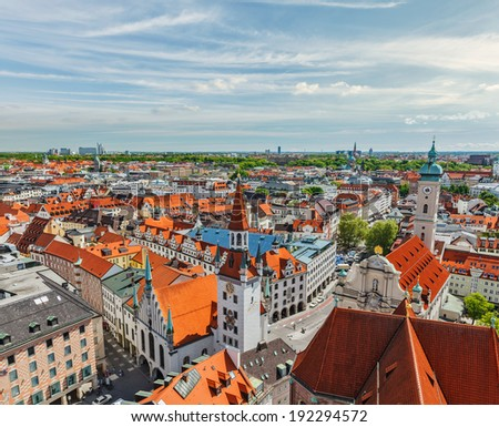 Aerial view of Munich - Marienplatz and Altes Rathaus, Bavaria, Germany - stock photo