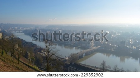 Aerial view of namur taken from the top of the citadel. - stock photo