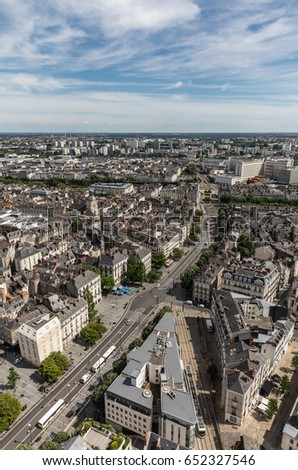 Aerial view of Nantes downtown