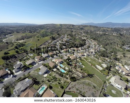 Aerial View of Neighborhood Southern California - stock photo