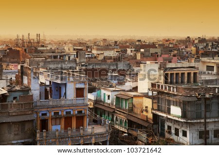 Aerial view of New Delhi, india, Asia - stock photo