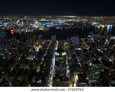 Aerial view of New York at night - stock photo