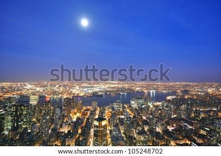 Aerial view of New York city - stock photo
